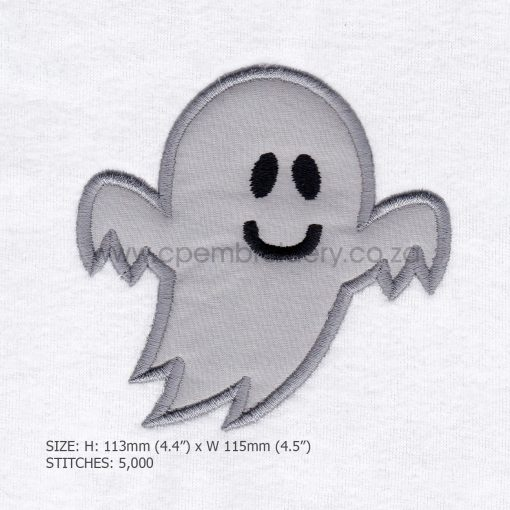 friendly smiling halloween funny ghost grey gray boy number 1 one applique machine embroidery download design file pattern medium