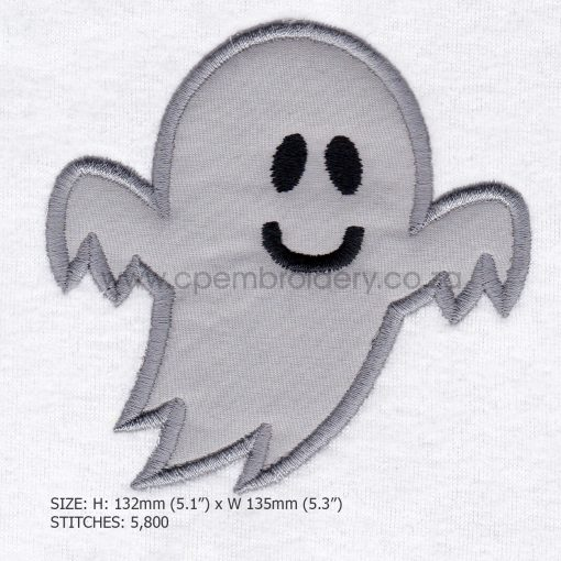 friendly smiling halloween funny ghost grey gray boy number 1 one applique machine embroidery download design file pattern large
