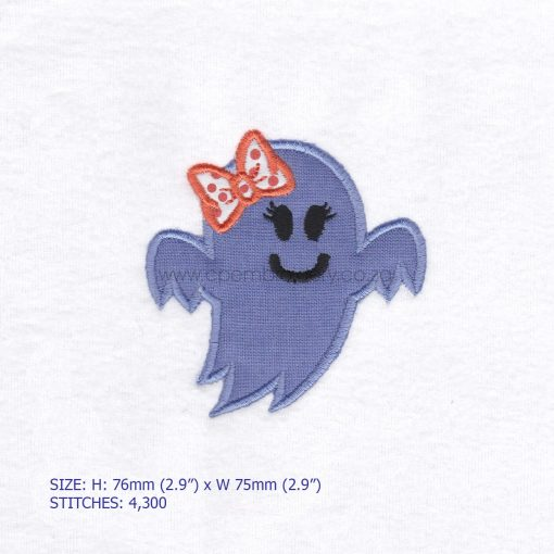 friendly smiling halloween funny ghost purple lilac orange bo ribbon girl number 1 one applique machine embroidery download design file pattern extra small