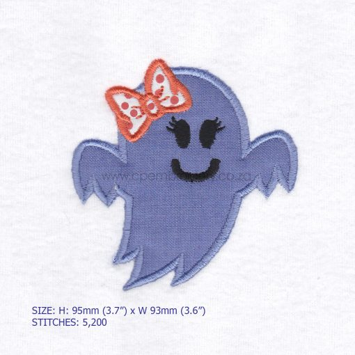 friendly smiling halloween funny ghost purple lilac orange bo ribbon girl number 1 one applique machine embroidery download design file pattern small
