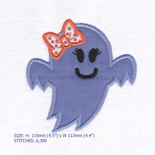 friendly smiling halloween funny ghost purple lilac orange bo ribbon girl number 1 one applique machine embroidery download design file pattern medium