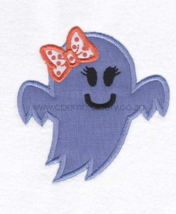 friendly smiling halloween funny ghost purple lilac orange bo ribbon girl number 1 one applique machine embroidery download design file