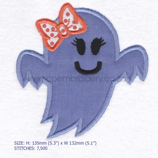 friendly smiling halloween funny ghost purple lilac orange bo ribbon girl number 1 one applique machine embroidery download design file pattern large
