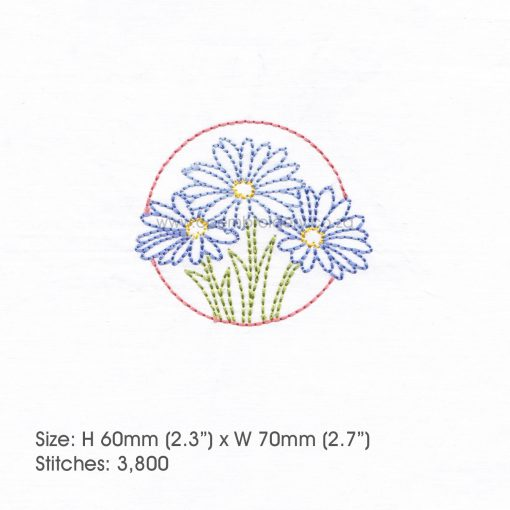 "floral circles three lilac purple daisies daisy flower flowers outline simple stitch machine embroidery download design fits 3"" x 3"" frame"