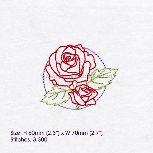 """floral circles two 2 red roses outline simple stitch machine embroidery download design fits 3"""" x 3"""" frame"""