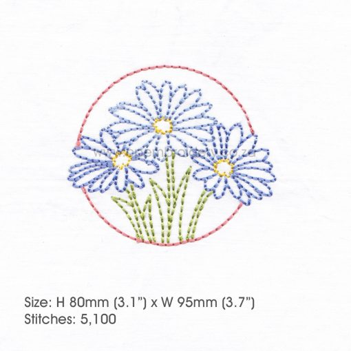 "floral circles three lilac purple daisies daisy flower flowers outline simple stitch machine embroidery download design fits 4"" x 4"" frame"