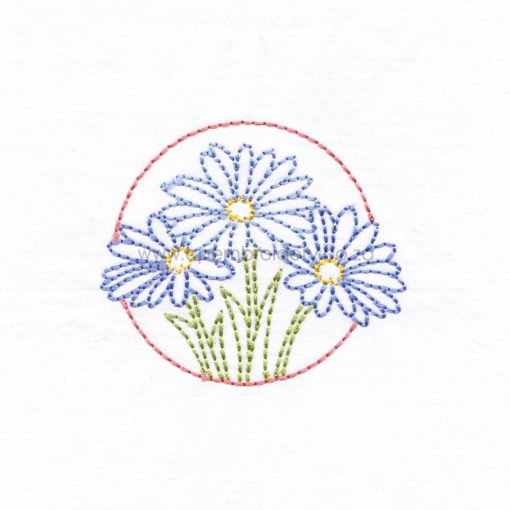 floral circles three lilac purple daisies daisy flower flowers outline simple stitch machine embroidery download design
