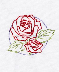 floral circles two 2 red roses outline simple stitch machine embroidery download design