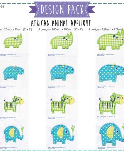 african animals rhino hippo zebra embroidery design pattern for machines