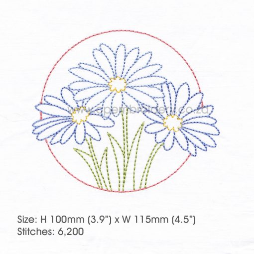 "floral circles three lilac purple daisies daisy flower flowers outline simple stitch machine embroidery download design fits 5"" x 7"" frame"