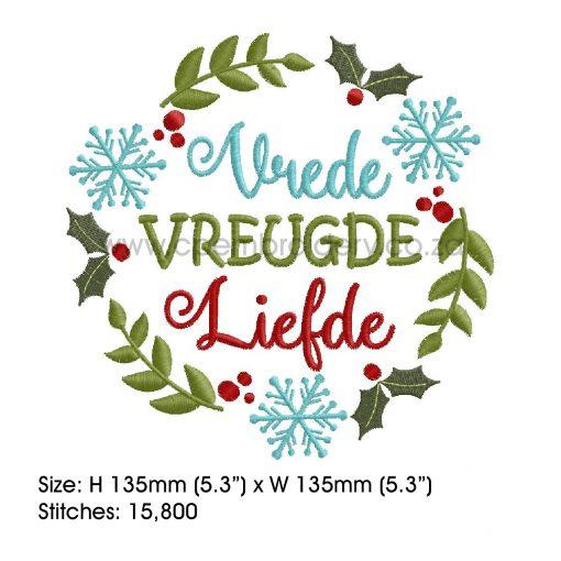 afrikaans rooi groen blou kerfess kraansie red green blue snowflake leaf berries leaves christmas wreath