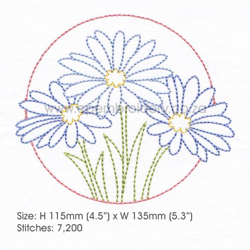 "floral circles three lilac purple daisies daisy flower flowers outline simple stitch machine embroidery download design fits 6"" x 10"" frame"