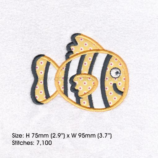 "black white yellow orange pet fish cute applique machine embroidery download design fits 4"" x 4"" frame"