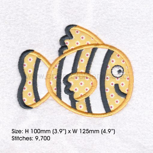 "black white yellow orange pet fish cute applique machine embroidery download design fits 5"" x 7"" frame"