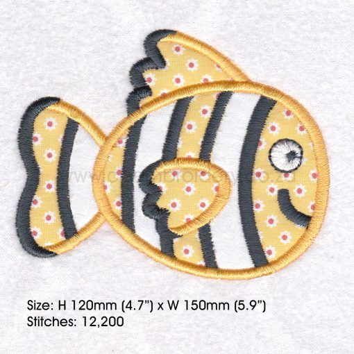 "black white yellow orange pet fish cute applique machine embroidery download design fits 6"" x 10"" frame"