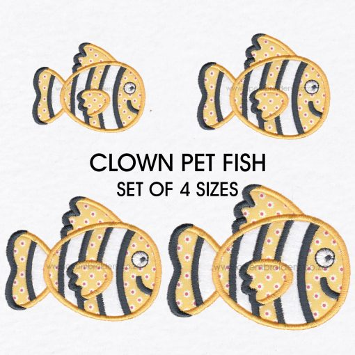 black white yellow orange pet fish cute applique machine embroidery download design set size pack