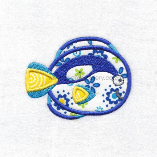 regal blue pet fish cute friendly simple smiling applique machine embroidery design pattern for machines