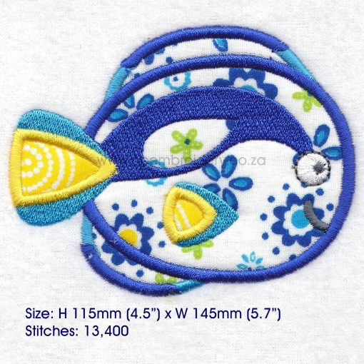 regal blue pet fish cute friendly simple smiling applique machine embroidery design pattern for machines 6 inch