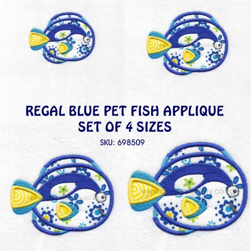 regal blue pet fish cute friendly simple smiling applique machine embroidery design pattern for machines 4 designs set pack