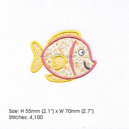 "yellow orange tang pet fish cute applique machine embroidery download design fits 3"" x 3"" frame"