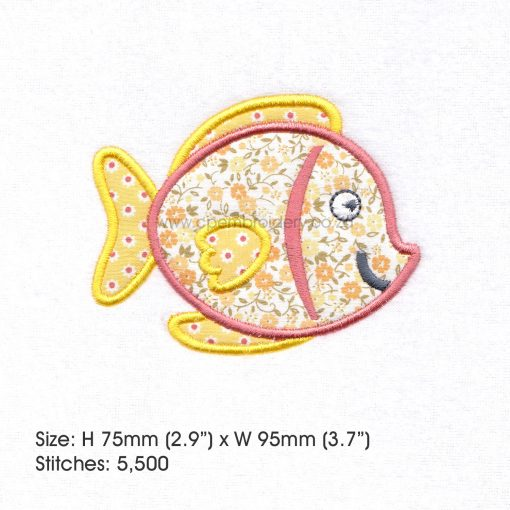 "yellow orange tang pet fish cute applique machine embroidery download design fits 4"" x 4"" frame"
