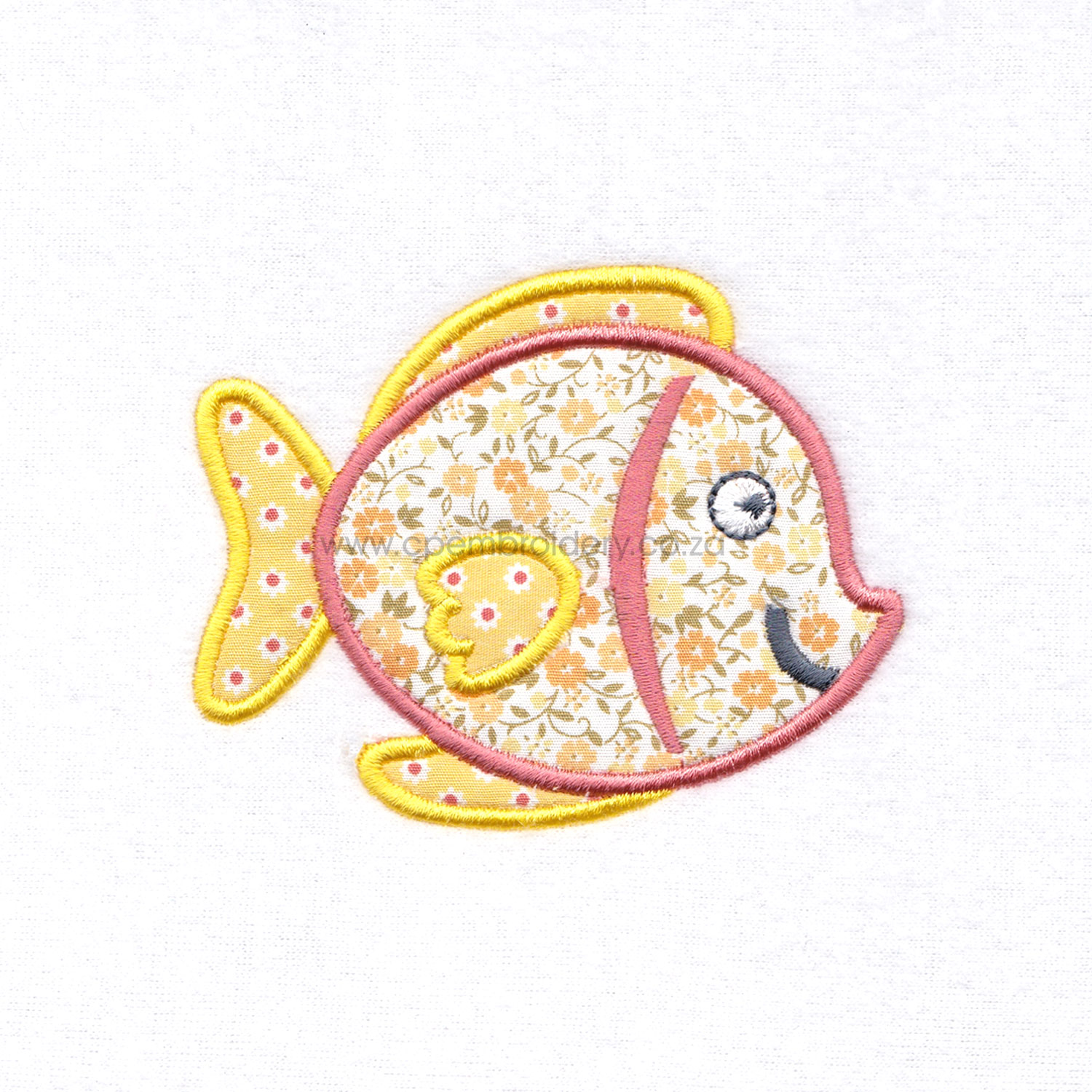 yellow orange tang smiling pet fish cute applique machine embroidery download design