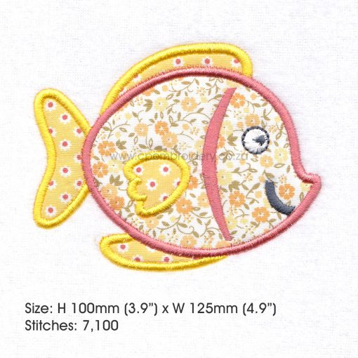 "yellow orange tang pet fish cute applique machine embroidery download design fits 5"" x 7"" frame"