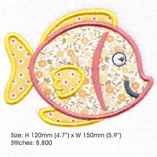 "yellow orange tang pet fish cute applique machine embroidery download design fits 6"" x 10"" frame"