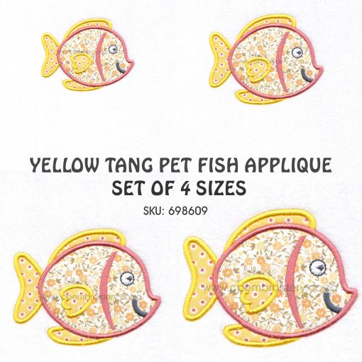 yellow orange tang smiling pet fish cute applique machine embroidery download design set size pack