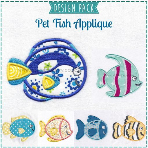 yellow orange black pet fish cute friendly simple smiling applique machine embroidery design pattern for machines 4 inch