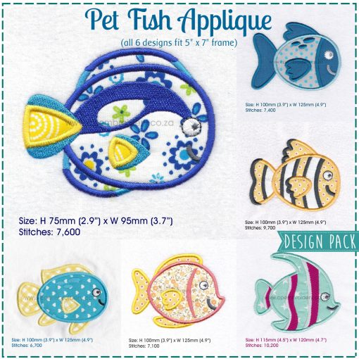 dory regal blue pet fish cute friendly simple smiling applique machine embroidery design pattern for machines