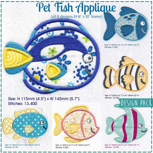 yellow and blue fish regal blue pet fish cute friendly simple smiling applique machine embroidery design pattern for machines 3 inch