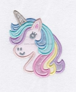 colored hair one horned pony horse unicorn head unicorn applique embroidery design pattern for machines