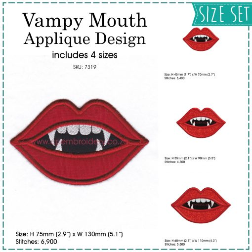red lips pointy teeth vampire lady girl woman mouth smiling vampy applique mask embroidery design