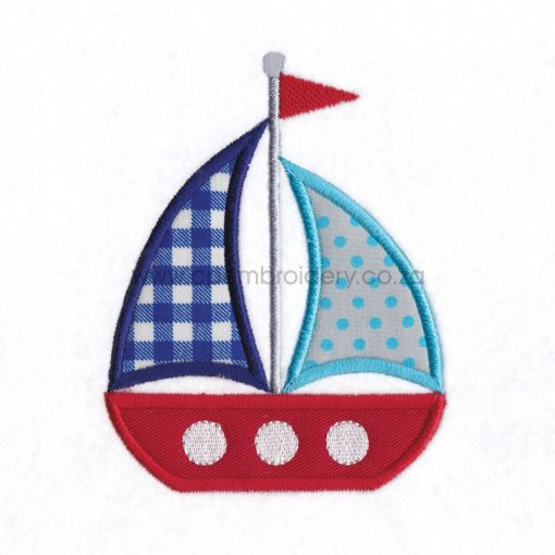 red blue white sailboat 2 sails simple embroidery pattern