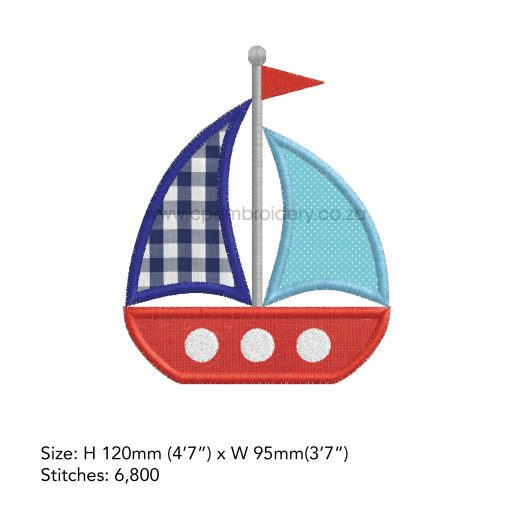 red blue white sailboat 2 sails simple embroidery pattern nautical theme ocean life ships