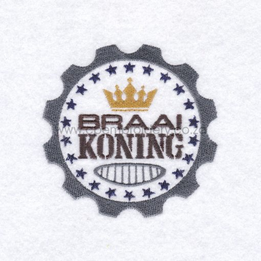 afrikaans braai koning borduur ontwerp mans vadersdag father's day apron round badge