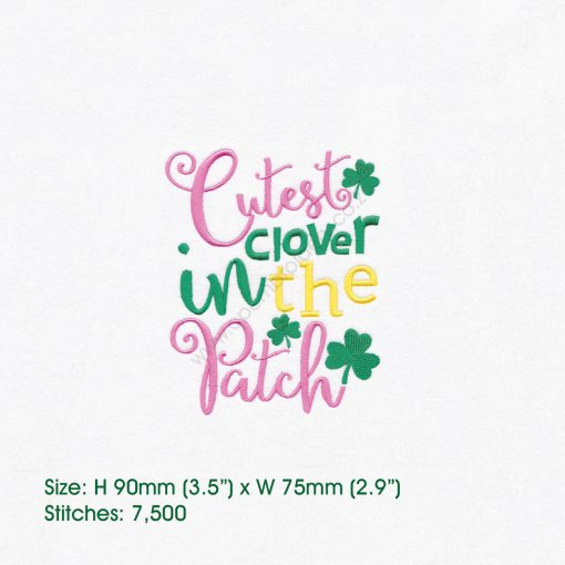 "green pink shamrock st patrick's day cutes clover patch machine embroidery download design 4""x 4"" frame"