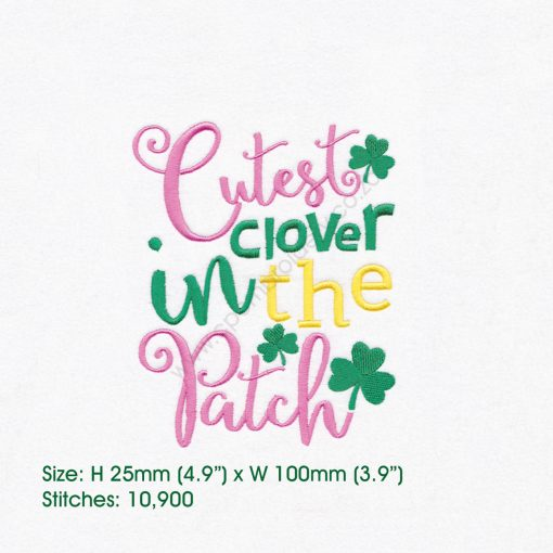 "green pink shamrock st patrick's day cutes clover patch machine embroidery download design 5""x 7"" frame"