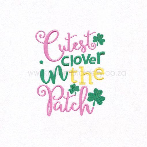 green pink shamrock st patrick's day cutes clover patch machine embroidery download design