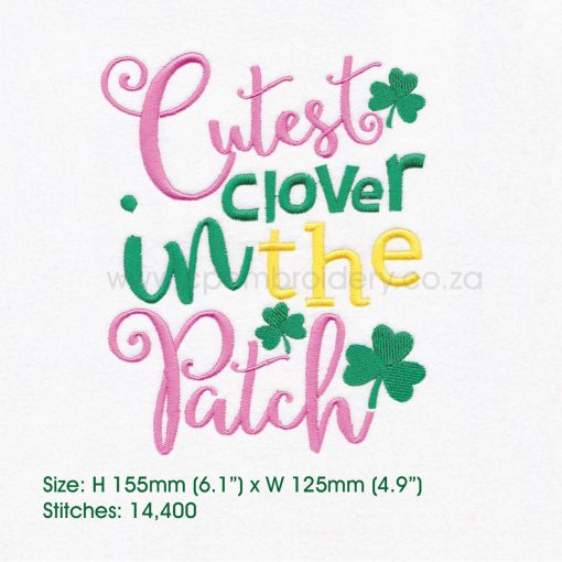 "green pink shamrock st patrick's day cutes clover patch machine embroidery download design 6""x 10"" frame"