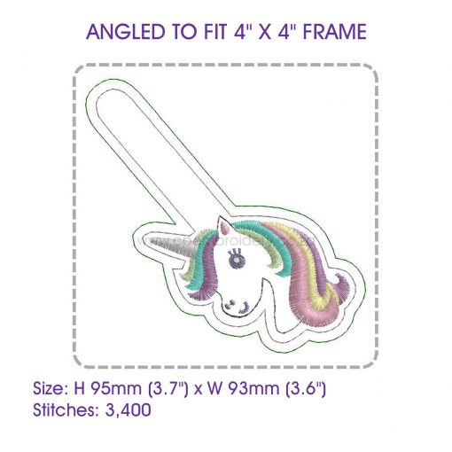 colored hair one horned pony horse unicorn key chain fob snap tab embroidery design pattern for machines 86101
