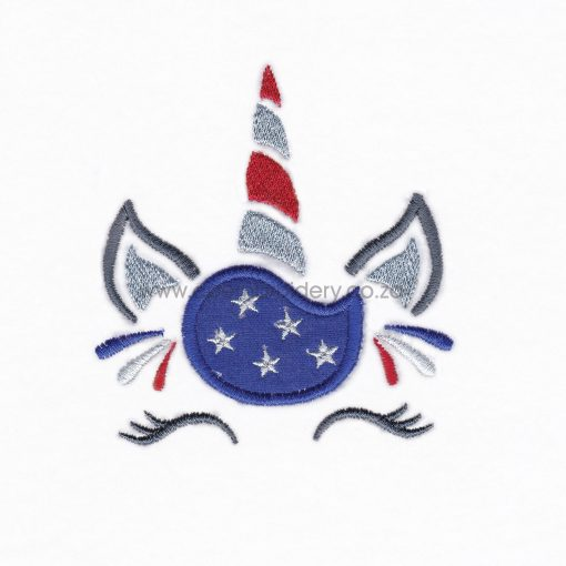 starry hair fourth 4th of july independence day unicorn head applique embroidery design