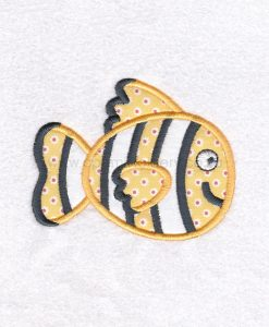 black white yellow orange pet fish cute applique machine embroidery download design