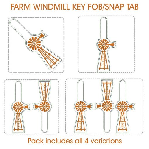 in the hoop ith farm african windmill key fob chain luggage tag snap tab machine embroidery download design files