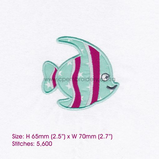striped moorish idol pet fish cute friendly simple smiling applique machine embroidery design pattern for machines 3 inch