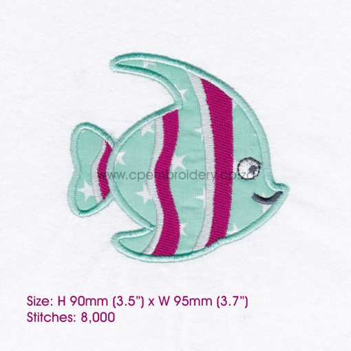 striped moorish idol pet fish cute friendly simple smiling applique machine embroidery design pattern for machines 4 inch