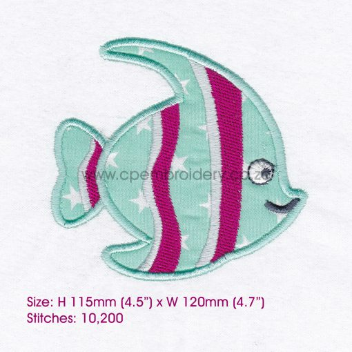 striped moorish idol pet fish cute friendly simple smiling applique machine embroidery design pattern for machines 5 inch