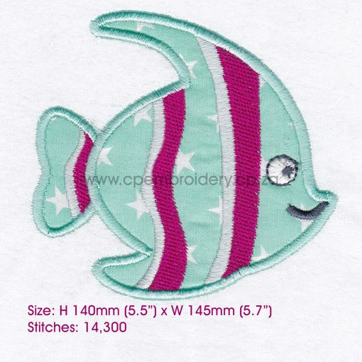 striped moorish idol pet fish cute friendly simple smiling applique machine embroidery design pattern for machines 6 inch