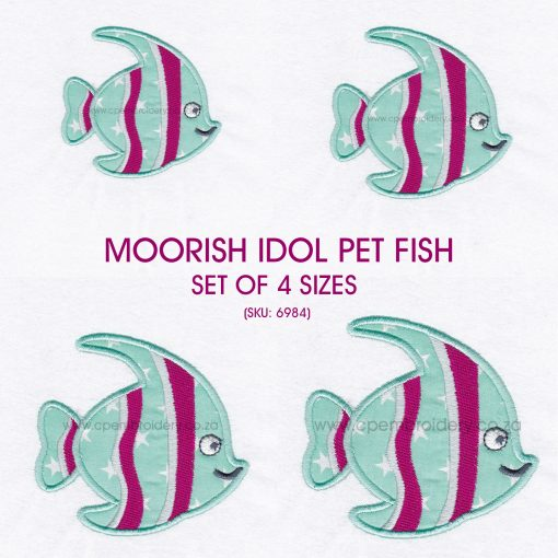 striped moorish idol pet fish cute friendly simple smiling applique machine embroidery design pattern for machines size set pack